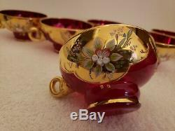 Venetian Murano Glass Punch Bowl Set w Cups 24K Gold Leaf in Stunning Red SIGNED