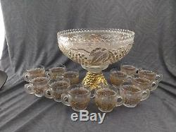 Very Rare Vintage Imperial Glass Gilt Ice Finish Punch Bowl & 12 Cups Free Ship