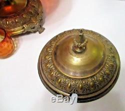 Victorian Amberina Art Glass & Brass Punch Bowl Antique Tureen with 3 Punch Cups