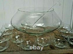 Vintage 14 Pc Glass Punch Bowl Mid Century Modern 12 Cups MOD Clear Glass