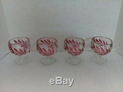 Vintage 15 Pieces, Indiana Oleander Willow Magnolia Ruby Flash Punch Bowl Set