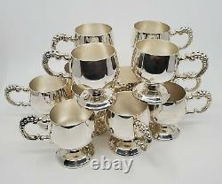 Vintage 17pc Alpaka Silver Plated Grapes Punch Bowl Set With Glass Inserts