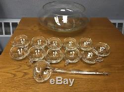 Vintage 17pc Hand Blown Crystal Moderno Riekes Crisa Large Punch Bowl Set Ladle