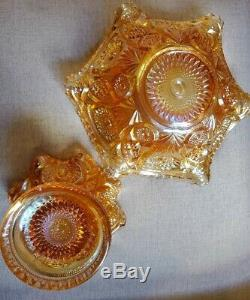 Vintage 1910 Fashion Marigold Carnival by Imperial Glass Ohio Punch Bowl