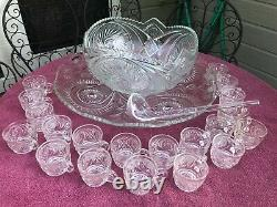 Vintage 1930's LE Smith Glass Pinwheel and Stars Slewed Horseshoe Punch Bowl Set