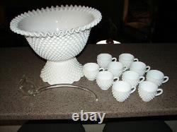 Vintage 1950 Fenton Milk Glass Crimped Punch Bowl W / 10 Punch Cups