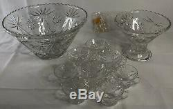 Vintage 1950 Punch Bowl Set Anchor Hocking Prescut Clear Glass Starburst 27 Pcs
