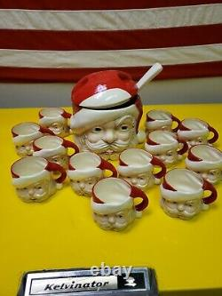 Vintage 1950's Ceramic Santa Egg Nog/punch Bowl With 12 Cups And Ladel
