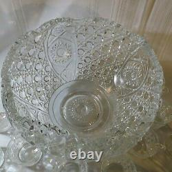 Vintage 20PC L. E. Smith Crystal Scalloped Daisy Hobstar & Button Punch Bowl SET