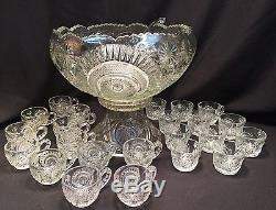 Vintage 26pc Huge L E Smith Pressed Glass Colony PUNCH BOWL & Cups Star Pinwheel