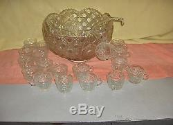 Vintage 38 Pc L E Smith Button Daisy Large Glass Punch Bowl 18 Cups Glass Ladle