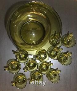 Vintage Amber 1960's Mid Century Glass Punch Bowl & 12 Cups Set