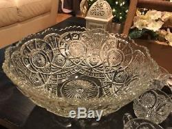 Vintage American Brilliant Cut Crystal Punch Bowl Set with 12 cups