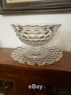 Vintage American Fostoria Large Pedestal Punch Bowl with Platter