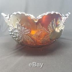 Vintage Amethyst Carnival Glass Dugan, Punch Bowl Many Fruit pattern 8 Glass