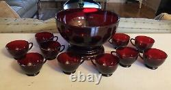 Vintage Anchor Hocking Royal Ruby Red Punch Bowl Base 10 Cups Depression Glass