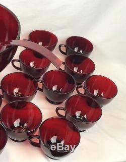 Vintage Anchor Hocking Royal Ruby Red Punch Bowl, Base, 26 Cups & Plastic Ladle
