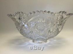 Vintage Antique Hobstar Cut Glass ABP Star Ray Punch Bowl With 11 Cups & Ladle