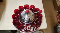 Vintage Art Deco Knowles Saturn Red Punch Bowl Set
