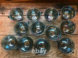 Vintage Blue Carnival Glass Punch Bowl, 12 Cups & Ladle Excellent Condition