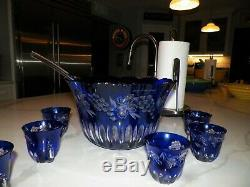 Vintage Blue Cut To Clear Crystal Punch Bowl With Seven (7) Cups Hungary