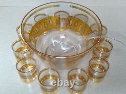 Vintage CULVER GLASSWARE LTD Antigua Punch Bowl Set 22k Gold Accents