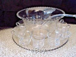 Vintage Candlewick Punch Bowl Underplate Ladle and 12 Cups JS