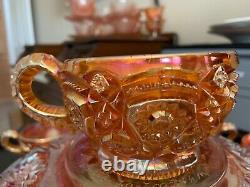 Vintage Carnival Glass Imperial 474 Marigold Punch Bowl, Pedestal & 8 Punch Cups