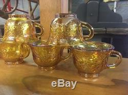 Vintage Carnival Marigold Glass Punch Bowl Cups And Ladle Grape Design Ti3299