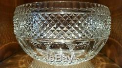 Vintage Clear Cut Lead Crystal thumbprint Centerpiece punch bowl Large