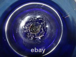 Vintage Cobalt Hand Blown Glass Punch Bowl 10 Cups