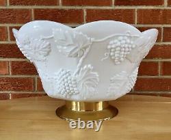 Vintage Colony Harvest Grape White Milk Glass Punch Bowl & 8 Cups
