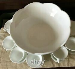 Vintage Colony Harvest White Milkglass Grape Pedestal Punch Bowl & 16 Cup Set