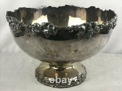 Vintage Crescent Silver Plate Punch Bowl Set Grape Edge Marked Cups Glasses