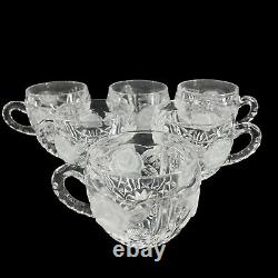 Vintage Crystal Glass Covered Punch Bowl Set Etched Roses 6 Cups Diamond Pattern