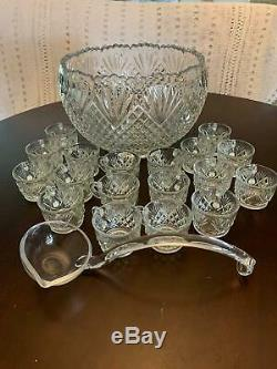 Vintage Crystal Punch Set By L. E. Smith with 18 Cups, One Ladle and Bowl