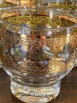Vintage Culver VALENCIA Punch Set Bowl + 12 Footed Cups Glasses 1962 Gold