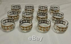 Vintage Culver Valencia Blue Gold Punch Bowl 12 Roly Poly Glasses, Caddy, Laddle