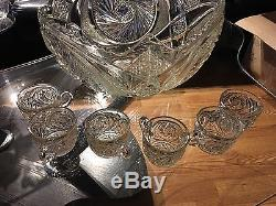 Vintage Cut Crystal Punch Bowl and 6 cups Turkish Glass