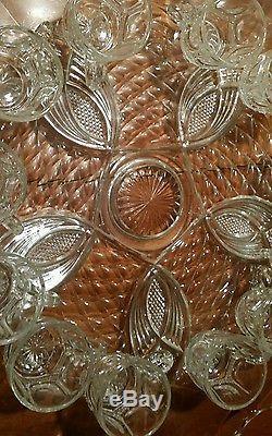 Vintage Cut Glass 14pc Punch Bowl Set