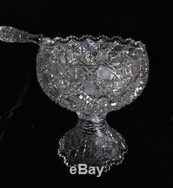 Vintage Cut Glass ABP American Brilliant Period Punch Bowl Pedestal Bergen Ladle