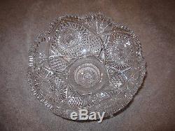 Vintage Cut Glass ABP PEDESTAL Punch Bowl HIGGINS & SEITER ON LIBBEY BLANK