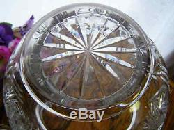 Vintage Cut Glass Crystal Covered Punch Bowl With Crystal Ladle
