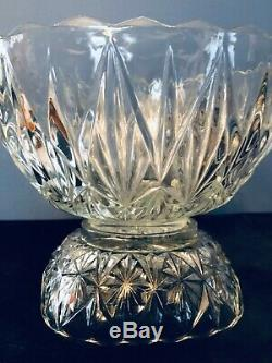 Vintage Cut Glass Crystal Punch Bowl, Pedestal, Hanging Clips And 12 Cups