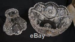 Vintage, Cut Glass/Crystal Punch Bowl and Base, Antique