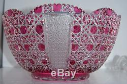 Vintage Czech Cranberry Cut to Clear Glass Punch Bowl Bohemian Red