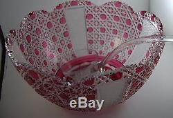 Vintage Czech Cranberry Cut to Clear Glass Punch Bowl w Ladle Bohemian Red