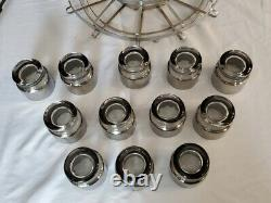 Vintage Dorothy Thorpe Punch Bowl 15 PC Set 12 Cups Original Ladle Footed Glass