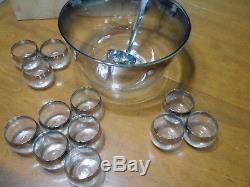 Vintage Dorothy Thorpe Roly Poly Silver Rimmed Punch Bowl Set Complete CIB HTF