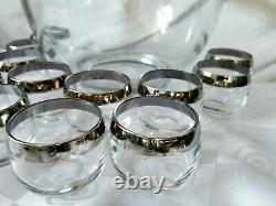 Vintage Dorothy Thorpe Silver Band Punch Bowl Thick Foot 12 Roly Poly Cups